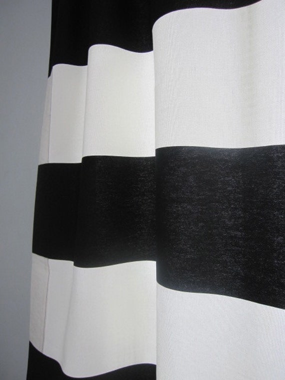 Set Of 2 Black And Off White Horizontal Stripe Curtain Panels