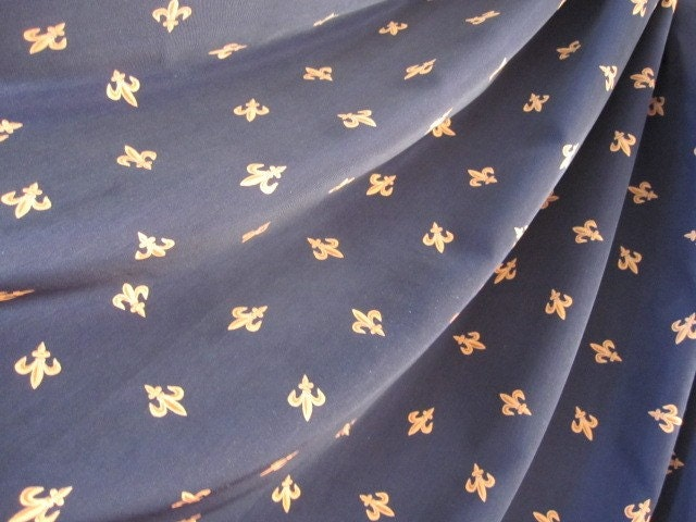 2 Fabulous Fleur De Lis Curtain Panels 70 Long Navy Gold