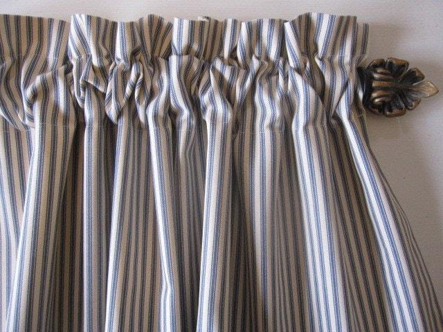 Curtain Valance Cafe Window Curtain Blue Woven Cotton