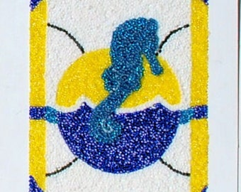 FREE SHIPPING (USA) : A Seahorse of course, a Beadwork Painting