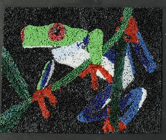 FREE SHIPPING (USA): Tree Frog, a Beadwork Painting