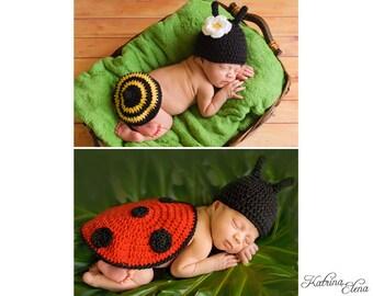Baby Ladybug and Bumble Bee Photo Prop Set
