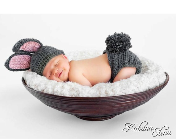Baby Bunny Hat and  Diaper Cover / Perfect for Easter/Customize