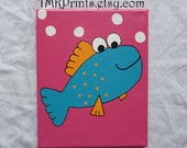 Colorful Fish  8x10 canvas and acrylic painting for childs nursery bedroom playroom or bath (made to order)