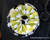 SALE - Black, White, and Lime Polka Dot Fabric Pin