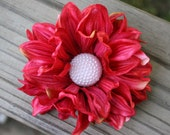 Blushing Red Peony Flower Hair Clip with Pearl Center