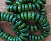 25 Forest Green Tagua Nut Beads, 8mm Rondelle Beads, Flat Donuts, Organic Beads, Natural Beads, Vegetable Ivory Beads, EcoBeads