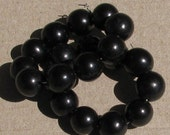 20 Black Tagua Nut Beads, 12mm Round Beads, Organic Beads, Vegetable Ivory Beads, Natural Beads, EcoBeads