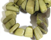 Almost Army Green Tagua Chips, 40 Beads, EcoBeads, Khaki Green