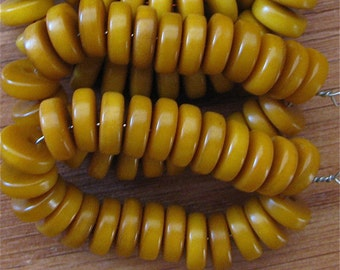 25 Amber Tagua Nut Beads, Rondells, Flat Donuts, 8mm Beads, Organic Beads, Vegetable Ivory Beads, Natural Beads, EcoBeads