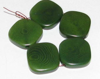 10 Forest Green Tagua Nut Beads, Flat Diagonal Square Beads, 12mm Beads, Organic Beads, Vegetable Ivory Beads, Natural Beads, EcoBeads