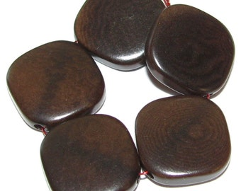 10 Tagua Nut Beads, 12mm Brown Flat Diagonal Squares, EcoBeads, Organic Beads, Eco Friendly Beads, Natural Beads