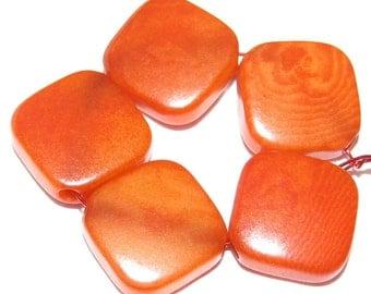 10 Orange Tagua Nut Beads, Flat Diagonal Square Beads, 9-10mm Beads, Organic Beads, Vegetable Ivory Beads, Natural Beads, EcoBeads