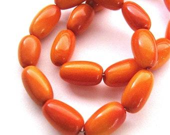 10 Orange Tagua Beads Olives, Natural Beads Organic Beads Vegetable Ivory Beads EcoBeads