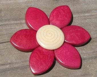 Fuchsia Pink and White Tagua Flower Beads, EcoBeads