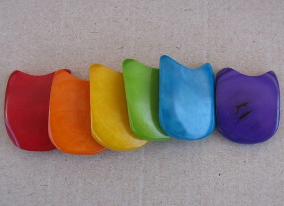 5 Tagua Nut Beads, Rainbow, Double Drilled Flat Scoop Rectangles, Natural Beads, Organic Beads, Vegetable Ivory Beads, EcoBeads
