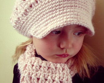 3T - 5T  Set Peony alpca brimmed hat with scarf