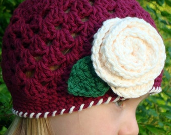 Hand Crocheted Burgundy Color Hat for Girl (ANY SIZES)