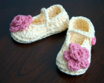 Mary Jane Crochet Baby Girl Booties (3 - 6 months)
