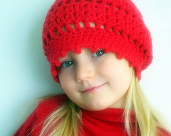 Slouchy picot baby girl hat