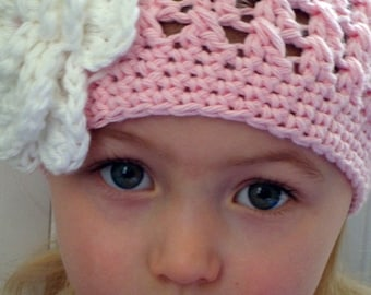 Pastel pink beanie hat for girl