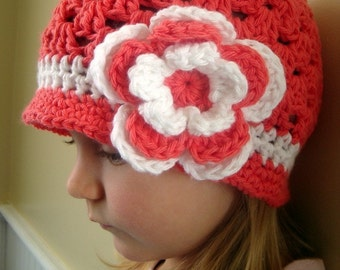 Brimmed beanie hat for girl, persimon color