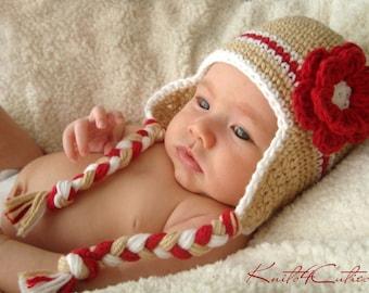 Newborn baby earflap hat Beige color