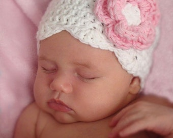 Newborn baby girl hat, white with pink, crochet