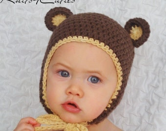 Teddy bear baby hat with ties