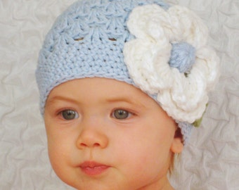 Baby blue hat with white flower for girl (Any sizes)