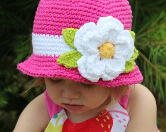 Girl summer hat, Hot pink cloche hat for girl with flower any sizes