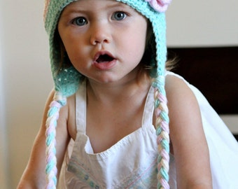 Earflaps baby hat, Cute earflap baby hat robbins egg color with light pink flower for girl