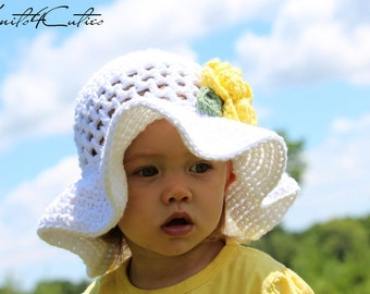 Girl summer hat, Adorable crocheted brimmed white hat with yellow flower