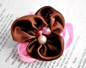 Double Blossom Headband/Clip in Chocolate Kiss