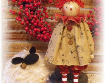 """Primitive """"MaryAnn and Hope"""" Doll and Lamb instant download e-Pattern"""