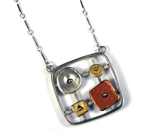 Tri Color Softened Square Sterling Necklace
