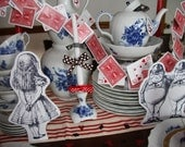 Alice and Wonderland Prop Characters and Card Garland - Party Decorations