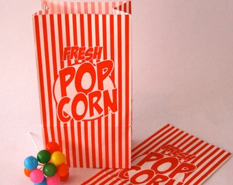 Set of 10 Vintage Inspired Popcorn Bags