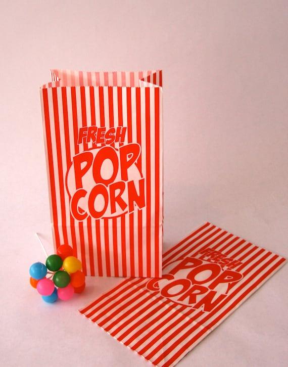 Set of 10 Vintage Inspired Popcorn Bags
