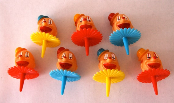Set of 6 Vintage Inspired Clown Cupcake Toppers