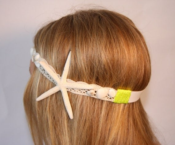 Unique Starfish headband with tiny white shell detailing