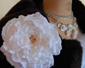 White Wedding Fabric Flower Brooch