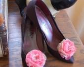 Ultra Feminine Coral  Fabric Flower Shoe Clips