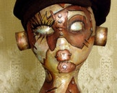 Sci-Fi Steampunk Robot Space Head Hat Wig Stand for Wig Scarf Headband Fascinator Display Home Décor Mannequin Manikin Art Doll Vintage Deco