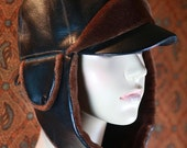Faux leather aviator hat vintage