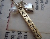 Family names brass bar necklace