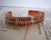 Love copper cuff bracelet