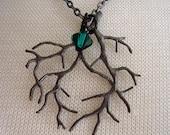 Lone leaf tree branch necklace