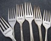 Vintage Fork Herb Garden Markers - Set 6