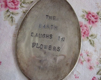 The Earth Laughs vintage spoon garden marker